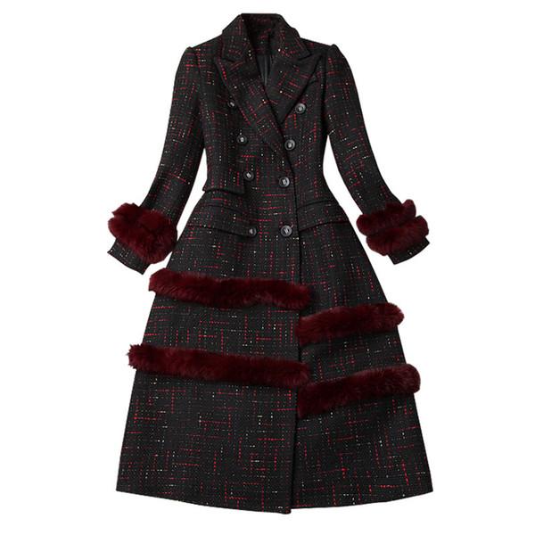 Frauen Herbst Winter Tweed langer Mantel karierte Patchwork Haar Reverskragen Zweireiher elegante Oberbekleidung 2018