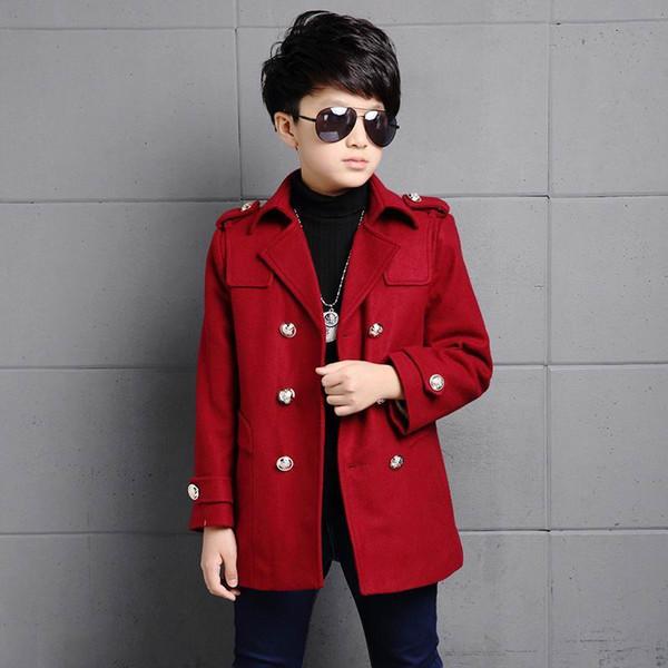 2019 satış gerçek çocuk palto ceket beyefendi tarzı katı kalın rüzgarlık ceket 5-16yrs boys çocuklar için çocuk sıcak giyim giysileri