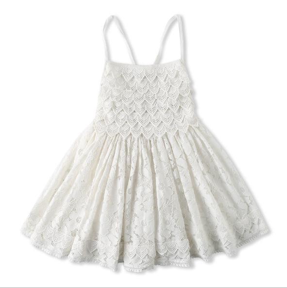 Vieeoease Filles Robe Fleur Enfants Vêtements 2019 D'été De Mode Coton Broderie Dentelle Princesse Strap Robe CC-303
