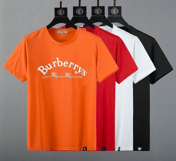SellingMen's T-shirt de algodão respirável em torno do pescoço cor sólida simples impressão selvagem estilo slim