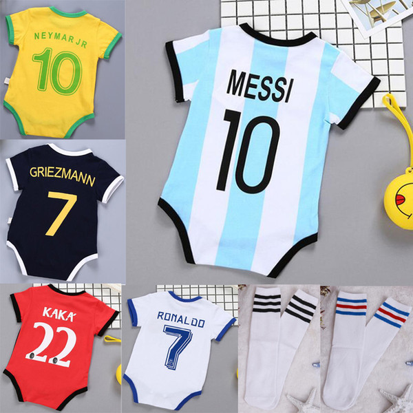 Baby Soccer Jerseys Romper Kids Football Socks Girls boys Clothes cotton stitch Jumpsuits Infant Rompers children Toddler Boutique 0-3 BB051