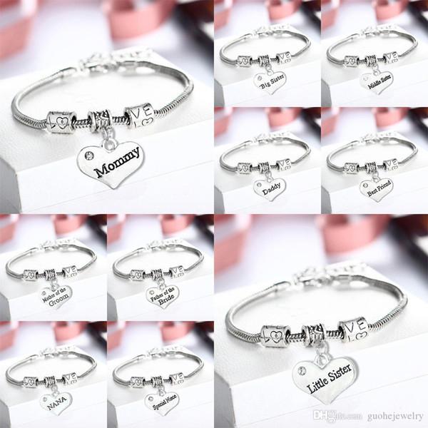 Hot design love bracelet Heart engraved lettering bracelets Sister Dad Mom Family bracelets free shipping