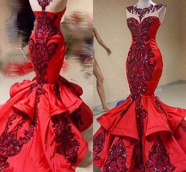 Rosso di lusso Paillettes sirena di Applique Ruffles Prom Dresses Pageant Shiny Jewel Sheer collo Fishtail immagine reale degli abiti di sera Occasione