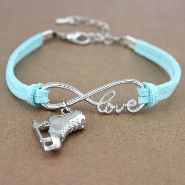 Ice Skate Shoe Skating Sports Gymnastics Infinity Love Charm Bracelets Women Men Girl Boy Unisex Jewelry 20 Colors to Choose