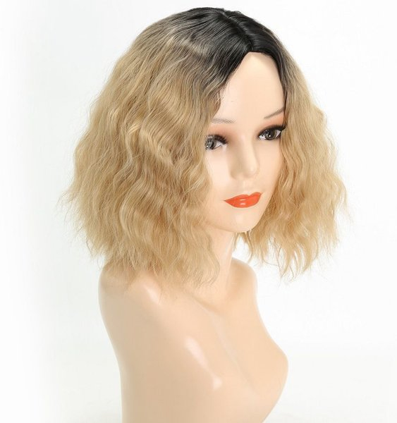 Synthetic Wigs Short Curly Wig Cosplay wig Blonde Corn Beard High Temperature Silk Chemical Fiber Wig For Europe and America Woman