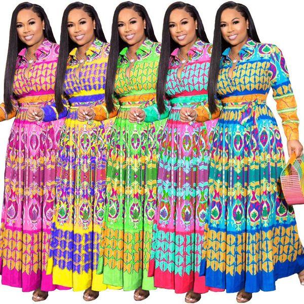 XL-5XL mujeres Otoño Imprimir Fajas Nacional Vintage Vendaje Largo maxi vestido sexy vestidos de fiesta vestidos bohemios
