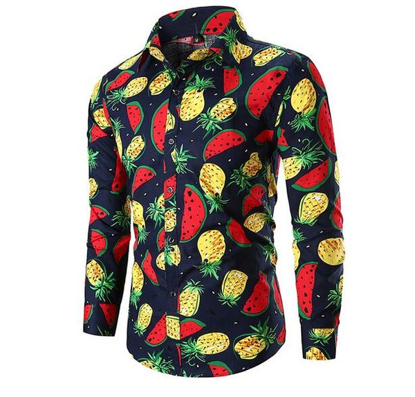 New Oxford Textile Business Casual Digital Print Loose Men's Pocket Long Sleeve Shirt Free Shipping 04