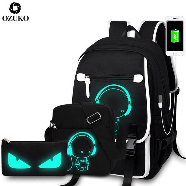 Ozuko New Fashion School Backpacks Student Luminous Cartoon Anime School Bags For Teenager Boys Girls Usb Charge Laptop Backpack Y19061102