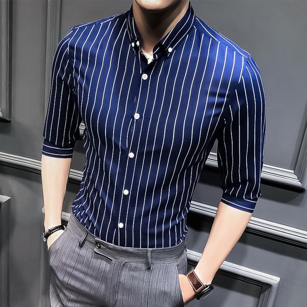 2019 New Men sieben Punkt Ärmel Streifen Hemd Herrenhemd Business Casual gut aussehend Zoll M-5XL