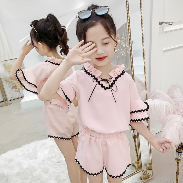 Girls Clothing Sets 2019 Summer Cotton Children T-shirts Top+Shorts Suit Kids Clothing sports Fashion Girls Clothes 4 6 8 10 12