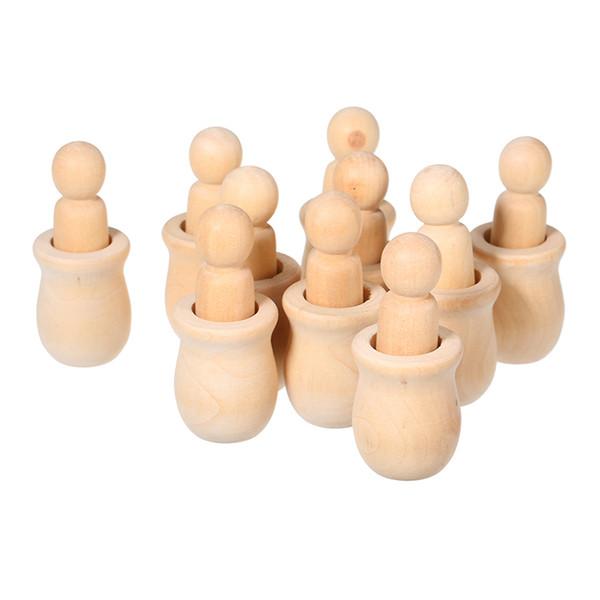10pcs bambole piolo di legno artigianato incompiuto fai da te vernice macchia favore del partito favore del bambino matrimonio decorazioni per la casa artigianato in legno persone incastonatura set