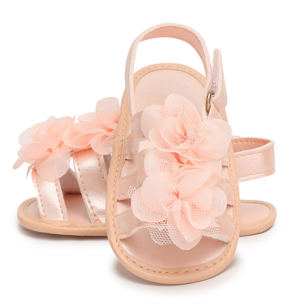 3 colors Beautiful Cloth Flowers PU leather Newborn Toddler Girl Shoes Summer Sandal for Baby Girls Non-slip soft soled Sandals