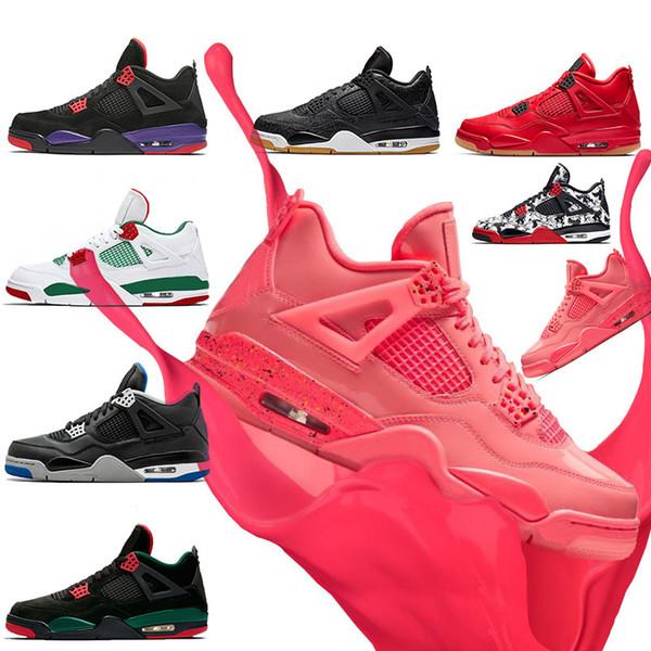 Chaussure de basketball Pink Punch Lava 4s pour femme IV Raptors Pure Money Pizzeria blanc gomme de chat noir Tattoo Travis Scott baskets de sport pour hommes