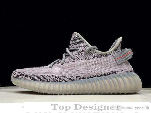 Лучшего качество Kanye West V2 Марк Дизайнер Мужчины Женщина кроссовки Зебра Черный Белая Статические Светоотражающие кроссовки T1D1