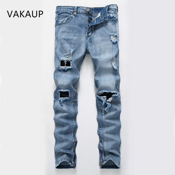 2019 New Jeans Elastic Torn Skinny Jeans Men Fashion Popular Hole Ripped For Men High Quality Denim Streetwear