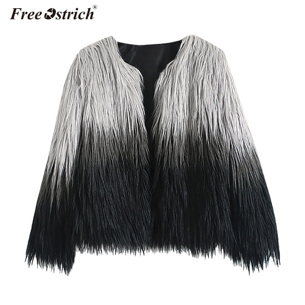 Free Ostrich Faux Fur Coat Female Coats Autumn Winter Casacos De Inverno Feminino Women Jacket Long Sleeve Overcoat N30