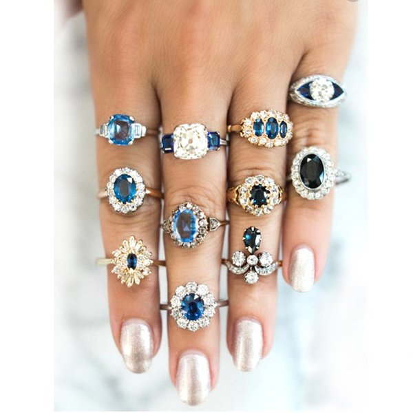 11 Pcs/set Delicate Luxury Women Blue Crystal Geometry Round Water Drops Irregular Flower Ring Set Charm Party Wedding Jewelry