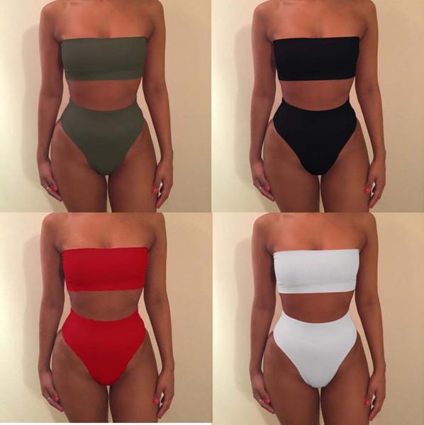 color sólido sin tirantes del bikini 7 colores del traje de baño de las mujeres del hombro del vendaje del traje de baño de mujer traje de baño 2020 del verano ropa de playa