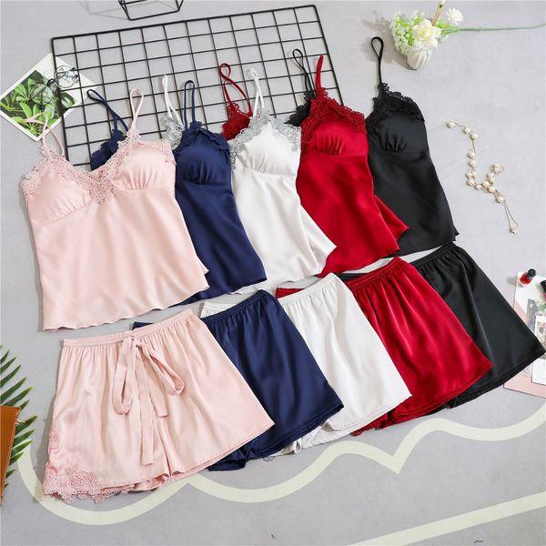 Women Pajamas Satin Sleepwear Pijama Silk Home Wear Lace Home Clothing Chest Pads Spaghetti Strap Sleep Lounge Pyjama