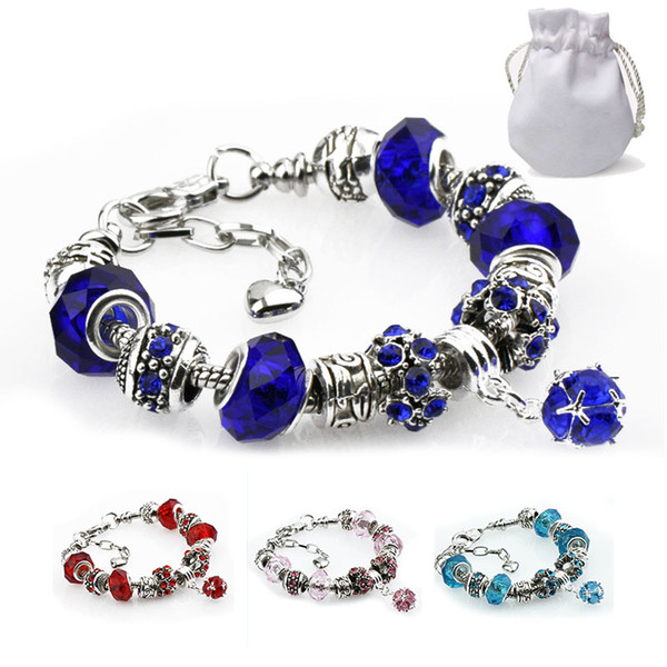 Genuine Crystal Beads Fit Pandora Charm Bracelets Smooth Red Purple Gemstone Pendant Women Fashion Brand Silver Bangles Lobster Clasp P42