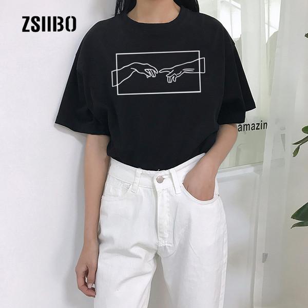 Rahat punk yaz yeni üstleri Michelangelo kısa kollu büyük boy S-2XL gevşek kadın Harajuku karikatür Tee baskı O-Boyun T-shirt