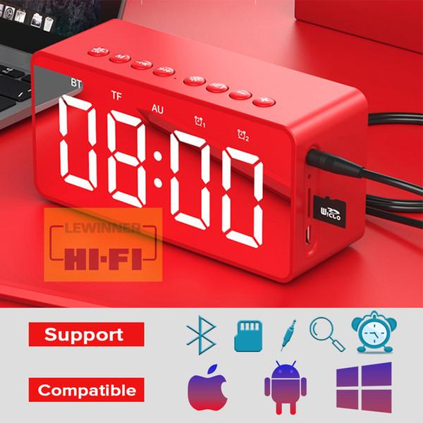 LED Digital Wecker Stereo Sound Bluetooth Lautsprecher, Zeitanzeige Unterstützung TF AUX mit Mikrofon