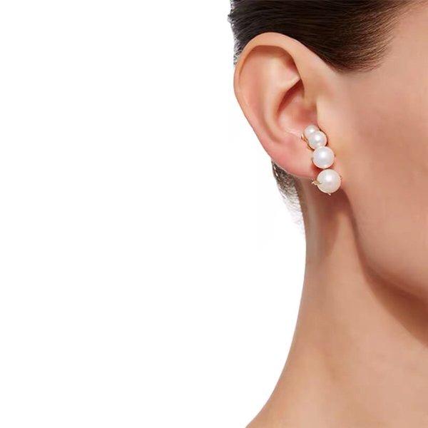 Diseñador de joyería de moda pendientes de perlas de gradiente de alta calidad pendientes de oro para las mujeres de lujo elegante marca Bijoux