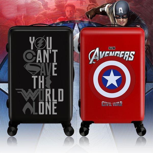 "Men Hero Cartoo Rolling Luggage Travel Suitcase bag,Women Personality Universal Wheel Box,20""24""inch Fashion ABS+PC Trolley Case"