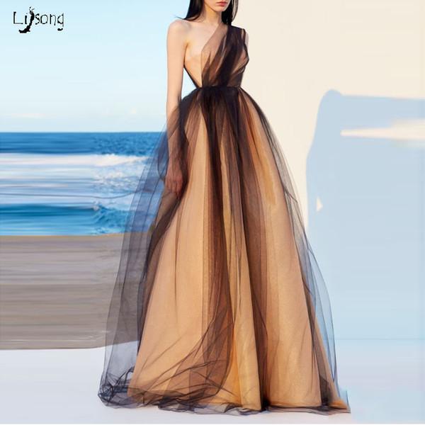 Elegant One-Shoulder Gold Tulle Satin A-line Prom Evening Event Dress High Waist Custom Made Maxi Gown for prom Lady Vestidos de Festa Longo