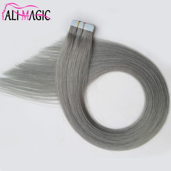 Nastro vergine Remy grigio estensioni dei capelli umani argento 100g 40 pezzi brasiliani indiani peruviani malesi trame di pelle nastro PU