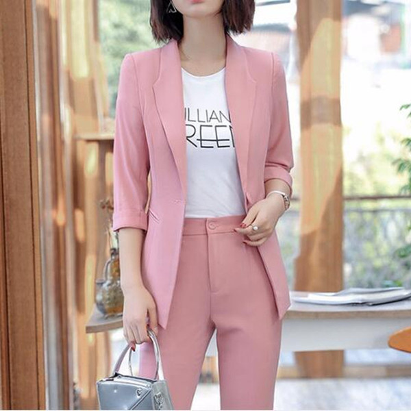 Traje formal de nueva moda a la moda para mujer, color sólido, traje delgado, de dos piezas (chaqueta + pantalón), traje formal formal para mujer