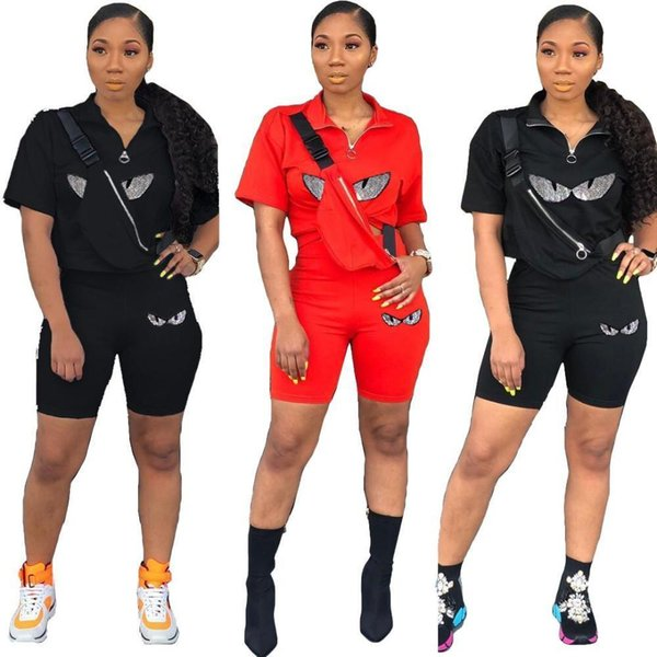Womens Two Piece Set Outfits short sleeves Tracksuit Sexy Jogging Sports short sleeves shorts Suits Sportwear fashion women clothing dhl