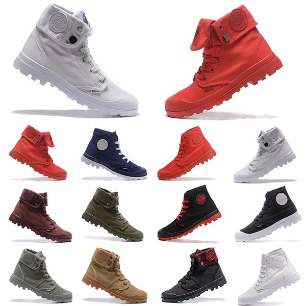 PALLADIUM Pallabrouse Men High-top Army Military Ankle mens women boots Canvas Sneakers Casual Shoes Man Anti-Slip Shoes 36-45
