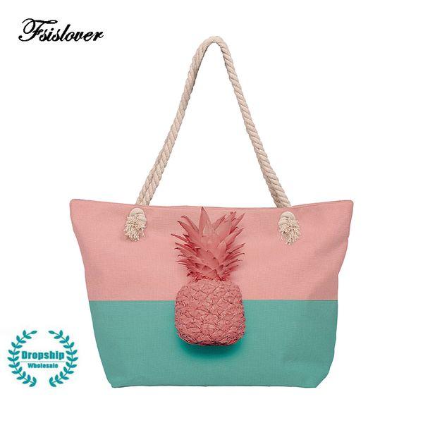 Designer Simple Fashion Women Handbags 2019 Fashion pineapple Printing Canvas Large Capacity Ladies Shopping Travel Hand Bag women bag