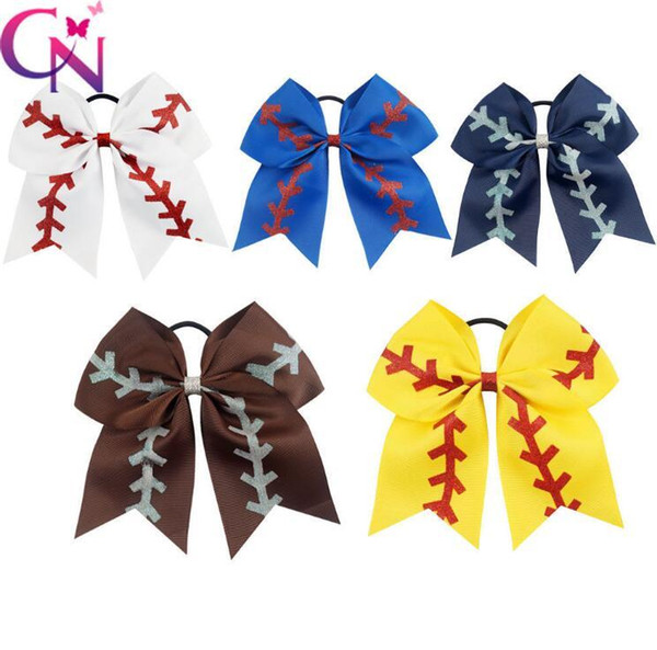 "5 Colors 7"" Large Ribbon Red Sliver Glitter Softball Cheer Bow Girls Cheerleading Hair Bows Hair Accessories 100pcs"