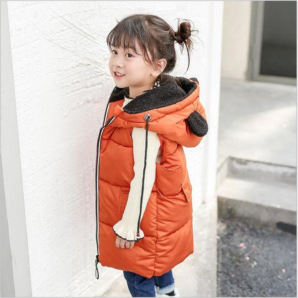 Детская осень зима с капюшоном куртки Детские ребенка длинные жилеты мальчиков девочек мода повседневная одежда 2019 новый