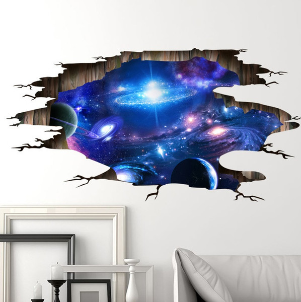 Vinyl 3d Muursticker.Dlm2 3d Outer Space Planet Decorative Wall Stickers For Kids Room Floor Galaxy Stickers Muraux Muursticker Vinyl Wall Decals Poster Wn308 Design Wall