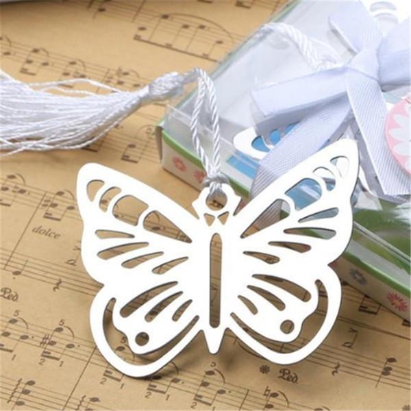 100 pezzi lettura pratica metallo essenziale farfalla segnalibro con nappe in scatola immagine colore metallo segnalibro hollow-out segnalibri 2019032415