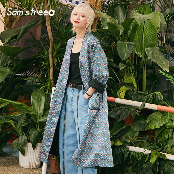 Neue Frau Trenchcoat Lässige Floral V-Ausschnitt Langarm Lose Femme Trench Vintage Breite Taille Femme Mäntel Frauen Tops
