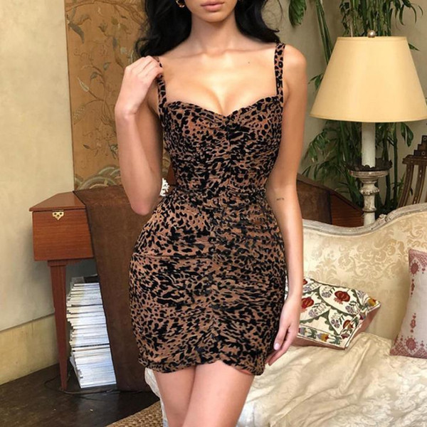 Sexy Leopard Print Skinny Womens Dresses Spaghetti Stra Backless Ladies Bodycon Dresses Womens Casual Pencil Dresses