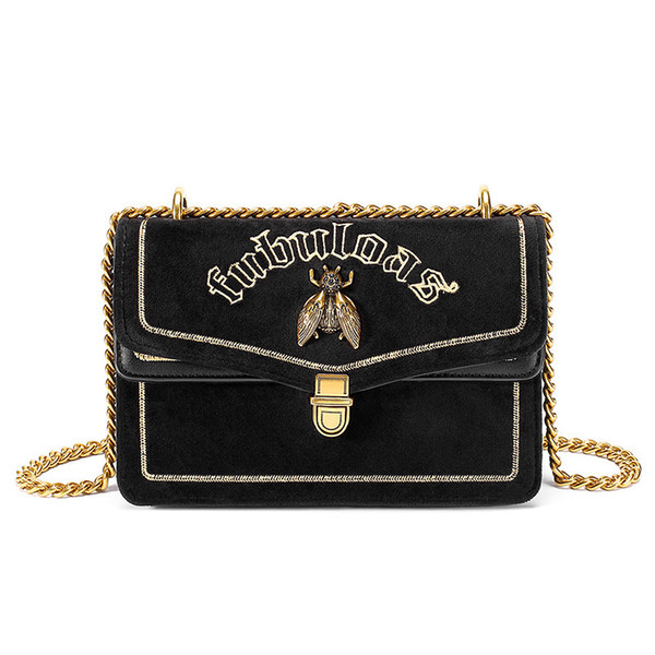Dream2019 Bag Velvet Woman Embroidery Letter Bees Single Shoulder Messenger Chain Small Square Package