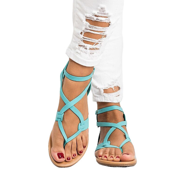 Women Sandals Fashion Gladiator Sandals For Women Summer Shoes Female Flat Style Cross Tied Shoes