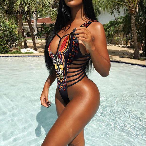 High Cut Brazilian Sexy Thong Monokini Swimsuit Women One Piece Swim Suit African Swimwear Female Swimming Suit Bandage Bikini Y19052002