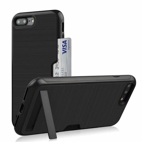 Ranuras para tarjetas Soporte de monedero TPU Fundas de escobillas para trabajo pesado a prueba de choques suaves bulit-in kickstand para iPhone 6 6S 7 7 PLUS 8 8 PLUS