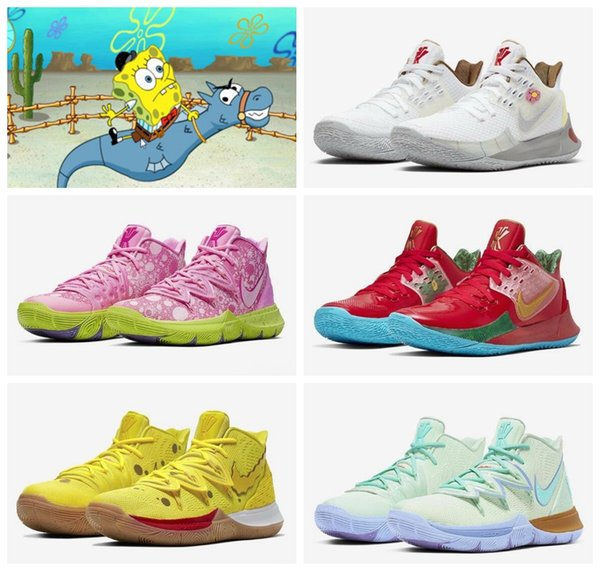 2019 Kyrie Sponge Bob Hommes Chaussures De Basketball 5s Baskets Kyrie Irving 5 Hommes Squidward Montagne Oréo Amis Patrick StarSports Sneakers 7-12