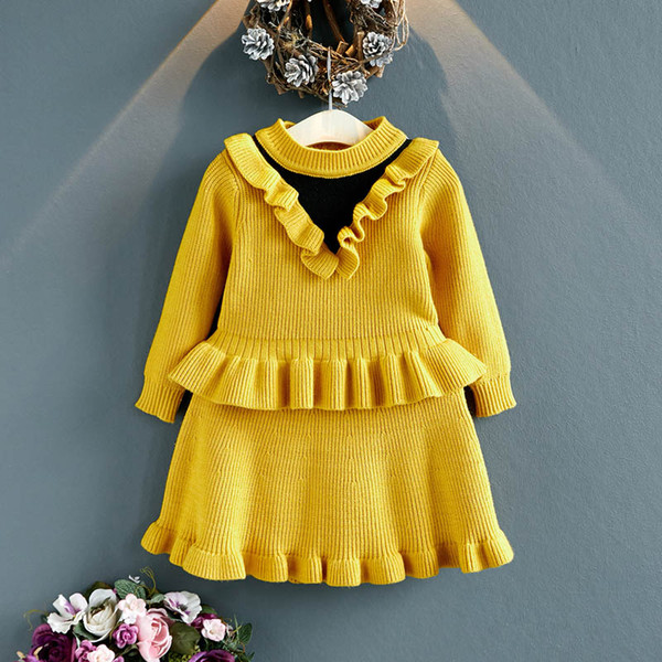 Yeni bebek kız takım elbise yenidoğan kıyafetler kazak bebek setleri bebek kız giysileri üst + etek bebek kız giysi tasarımcısı toddler kız giysileri A7213