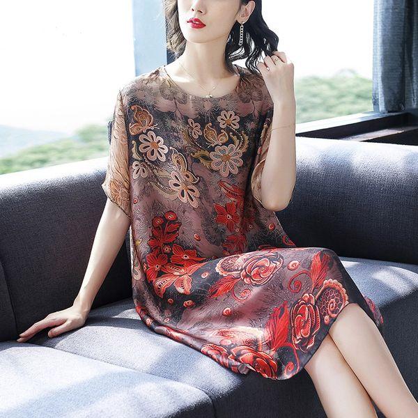 7xl 6xl plus size Women's Dresses 2019 new summer printed silk dress fashion loose casual dress high quality vestidos