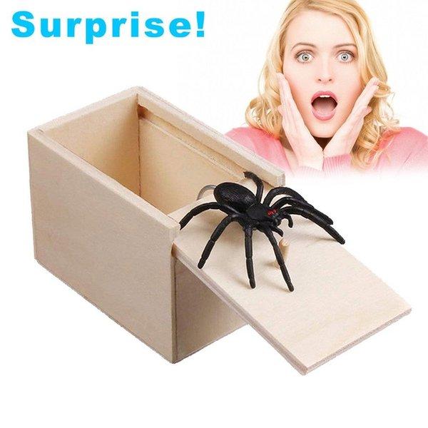 День подарков Деревянные розыгрыши Trick Дурака Розыгрыш Home Office Scare Toy Box Gag паук мышь Дети смешной подарок