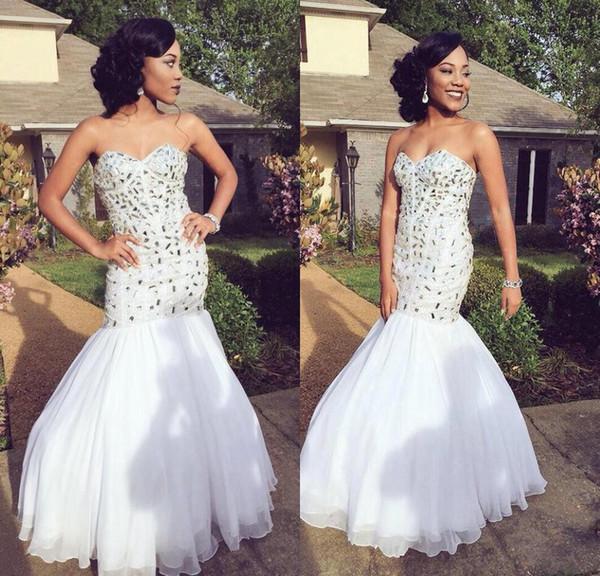 Lantejoulas brancas Sereia Sparkly Africano Vestidos de Baile De Cristal Zip Voltar Formal Evening Vestidos de Baile Vestidos