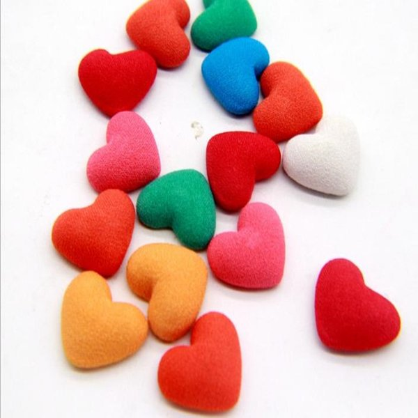 best selling 100PCS Diy Accessories Fabric Cotton Mix Colors Flat Heart Button Cover Button Small Button For Handmade
